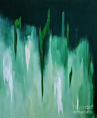 Emerald Green Abstract Painting - Emerald In The Mist by Herschel Fall