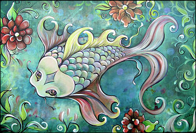 Koi Fish Painting - Emerald Koi by Shadia