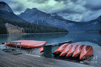 Red Canoe Photograph - Emerald Lake Canoes by Adam Jewell
