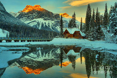 Photograph - Emerald Lake Orange Winter Glow by Adam Jewell
