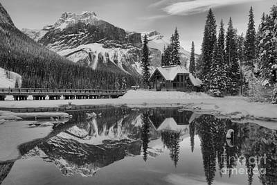 Photograph - Emerald Lake Orange Winter Glow Black And White by Adam Jewell