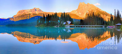 Photograph - Emerald Lake Red Glow Panorama by Adam Jewell