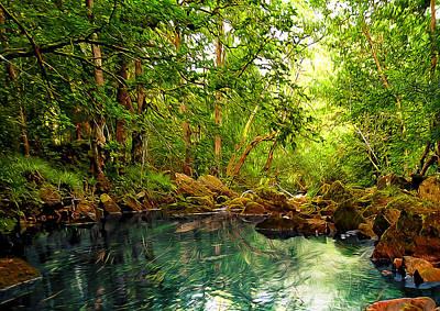 Abstract Digital Art Mixed Media - Emerald Lake by Svetlana Sewell