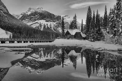 Photograph - Emerald Lake Winter Alpenglow Black And White by Adam Jewell