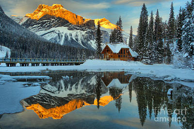 Photograph - Emerald Lake Winter Sunset Reflections by Adam Jewell