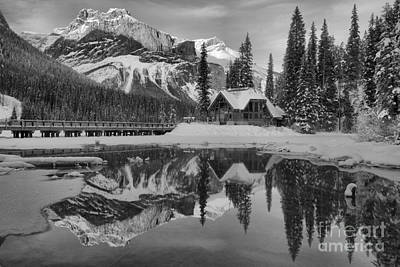 Photograph - Emerald Lake Winter Sunset Reflections Black And White by Adam Jewell