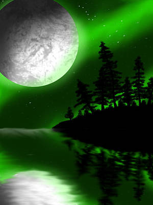 Dipper Digital Art - Emerald Moon by Zachary Maheux