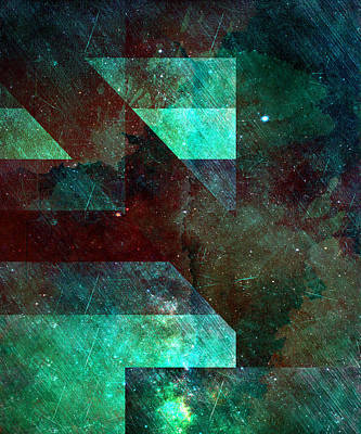 Popular Mixed Media - Emerald Nebulae by Aaron Carberry
