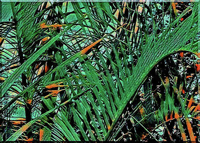 Art Print featuring the digital art Emerald Palms by Mindy Newman