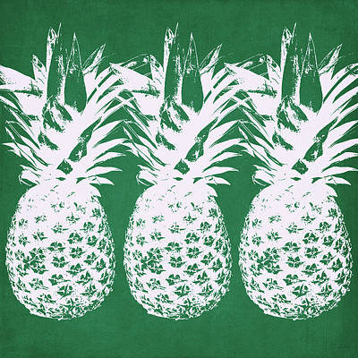 Green Mixed Media - Emerald Pineapples- Art By Linda Woods by Linda Woods