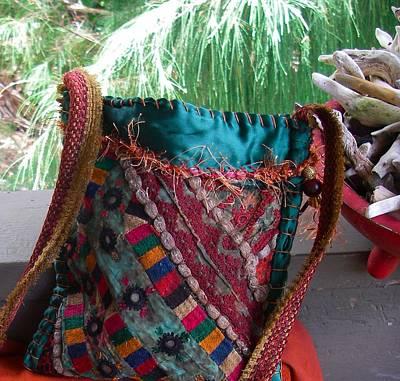 A Hand Mirror Tapestry - Textile - Emerald Ralli Quilt by Krisha Fairchild