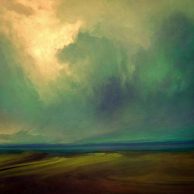 Abstract Landscape Mixed Media - Emerald Sky by Lonnie Christopher