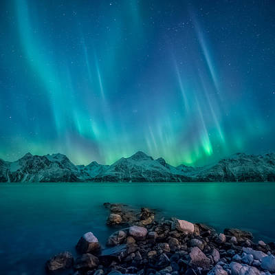 Square Photograph - Emerald Sky by Tor-Ivar Naess