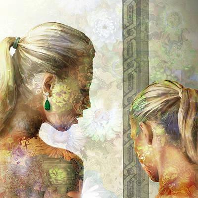 Gold Earrings Painting - Emerald by Van Renselar