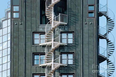 Background Photograph - Emergency Fire Escape Staircases On A Building Exterior. Urban A by Dani Prints and Images