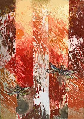 Emerging Dragonflies Art Print by Anne Rickard