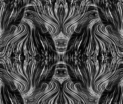 Black And White Digital Art - Emerging From Chaos by Abstract Angel Artist Stephen K