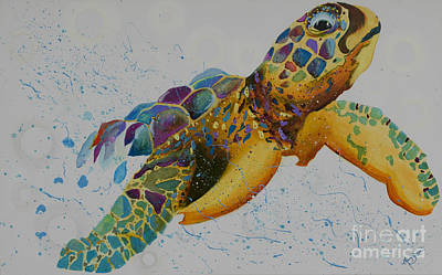 Seaturtle Painting - Emerging by Mary Sisson