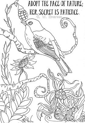 Digital Art - Emerson Quote Bird Nature Zentangle Art by D Renee Wilson