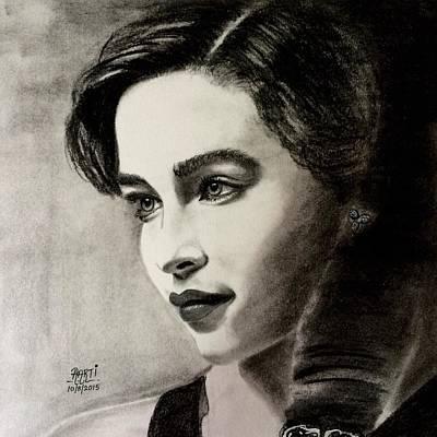 Game Lights Drawing - Emilia Clarke  by Aarti Bartake