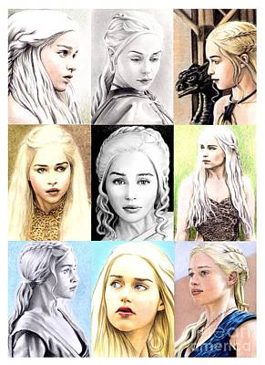 Drawing - Emilia Clarke Montage by Wu Wei