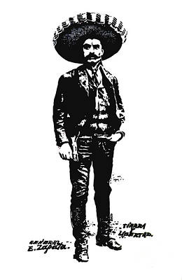 Drawing - Emiliano Zapata by Antonio Romero