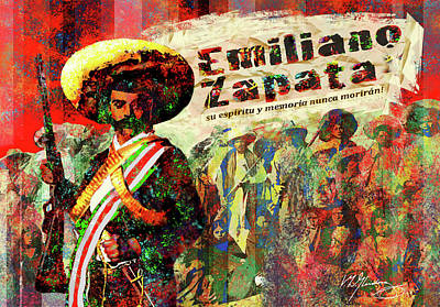 Spirits Digital Art - Emiliano Zapata Inmortal by Dean Gleisberg
