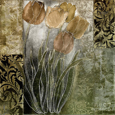 Bronze Painting - Emily Damask Tulips II by Mindy Sommers