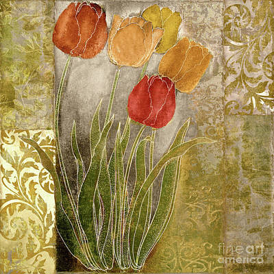 Red Tulip Painting - Emily Damask Tulips IIi by Mindy Sommers