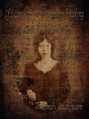 Photograph - Emily Dickinson 2 by Andrew Fare