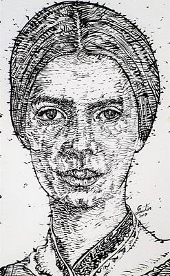 Drawing - Emily Dickinson - Ink Portrait by Fabrizio Cassetta