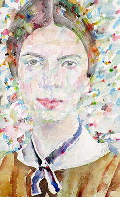 Painting - Emily Dickinson - Watercolor Portrait.4 by Fabrizio Cassetta