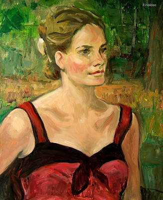 Painting - Emily In Red In Central Park by Robert Holden
