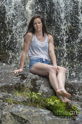 Photograph - Emily On A Rock In Front Of Falls by Dan Friend