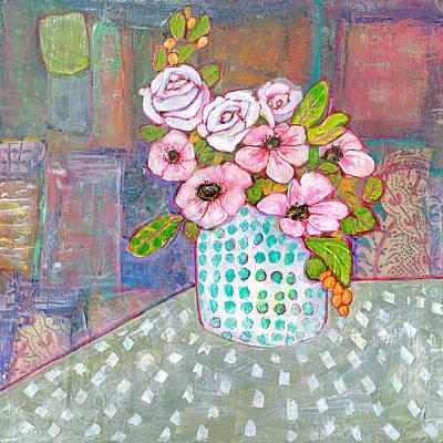 Botanicals Mixed Media - Emily Roses Flowers by Blenda Studio