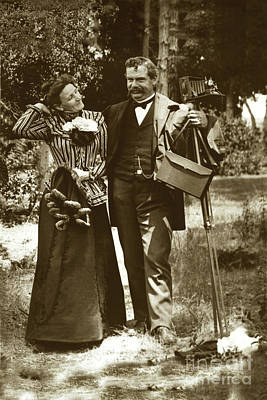Photograph - Emily Tuttle And Her Husband C. K. Tuttle With His 4x5 Camera On by California Views Mr Pat Hathaway Archives