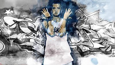 Evansville Drawing - Eminem Graffitti2 by Jani Heinonen