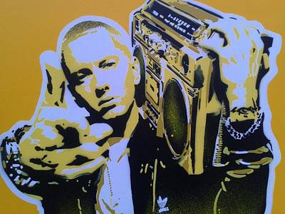 Shady Street Painting - Eminem In Yellow by Leon Keay