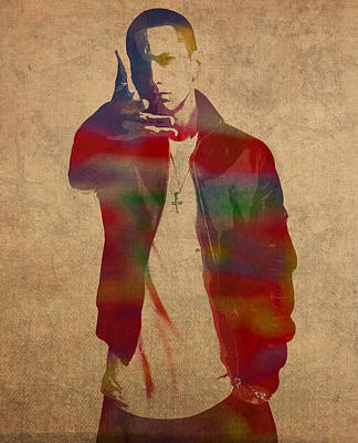 Eminem Wall Art - Mixed Media - Eminem Watercolor Portrait by Design Turnpike