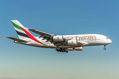 Commercial Photograph - Emirate Airbus A380 Land Zurich by Roberto Chiartano
