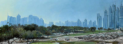 Golf Art Painting - Emirates 8th by Mark Robinson