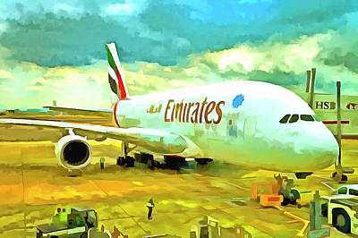 Photograph - Emirates A380 Airbus Pop Art by David Pyatt