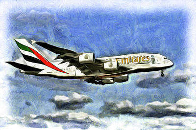 Mixed Media - Emirates A380 Airbus Van Gogh by David Pyatt