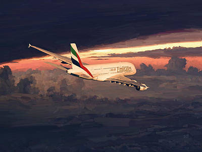 Emirates Airbus A380 Above Dubai Art Print