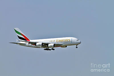 Emirates Airbus A380 Art Print by Amos Dor