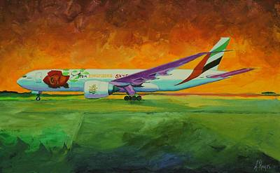 Painting - Emirates In Borinquen by Angel Reyes