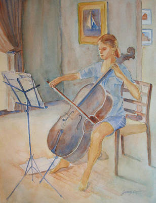 Cello Painting - Emma And Clifford by Jenny Armitage