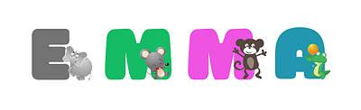 Mixed Media - Emma Baby Name by Gina Dsgn
