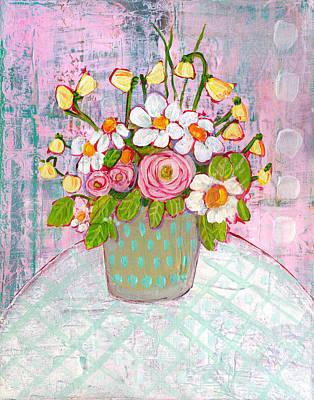 Emma Daisy Bouquet Art Print by Blenda Studio