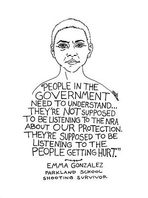 Drawing - Emma Gonzalez by Rick Frausto
